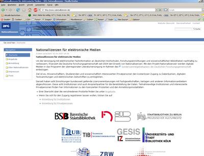 Bildschirmfoto der Startseite der Nationallizenzen