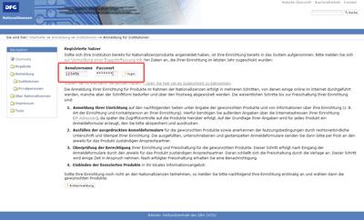 Bildchirmfoto des Startbildschirms: Anmeldung zu den Nationallizenzen