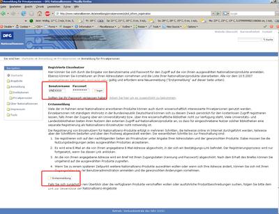 Bildschirmfoto 1. Teil der Registrierung