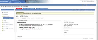 Bildschirmfoto der Startseite nach erfolgtem Login