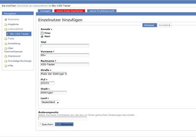 Bildschirmfoto des Kontaktformulars