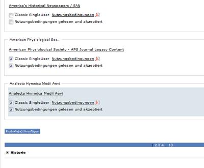 Bildschirmfoto der Produktauswahl