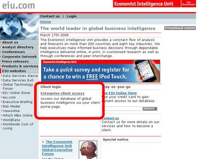 Bildchirmfoto des Startbildschirms: EIU