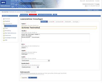 Bildschirmfoto der Änderungsoptionen über den Reiter bearbeiten