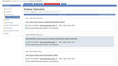 Bildschirmfoto Auswahl der Produkte