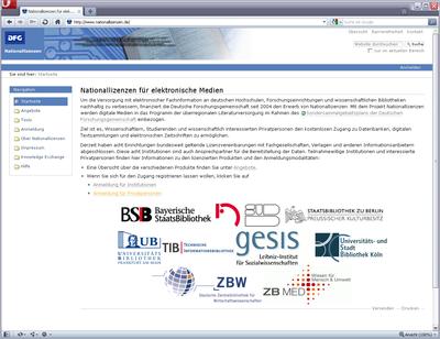 Bildschirmfoto der Startseite Nationallizenzen